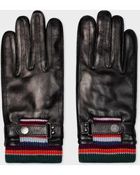 Paul Smith Black Leather Gloves With Striped Wool Cuffs
