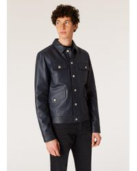Paul Smith Navy Leather Rider Jacket