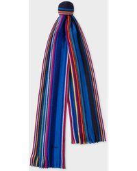 Paul Smith - Blue Fennel-Stripe Wool Scarf - Lyst