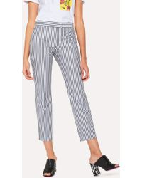 Paul Smith - Slim-Fit Grey And White Stripe Cotton Trousers - Lyst