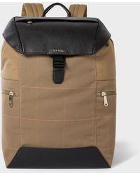 Paul Smith Khaki Check Flap-closure Backpack - Natural