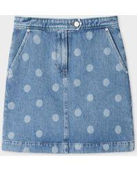 Paul Smith - Light Wash Denim Polka Dots Mini Skirt - Lyst
