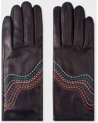 Paul Smith Navy Leather Gloves With 'swirl' Stitching Details - Blue