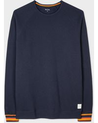 Paul Smith Navy Jersey Cotton Long-sleeve Top With 'artist Stripe' Cuffs - Blue