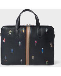 Paul Smith - 'people' Signature Stripe Slim Leather Business Folio - Lyst