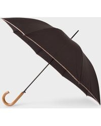 Paul Smith - Parapluie Droit Noir Avec Bordure 'Signature Stripe' Et Pommeau En Bois - Lyst