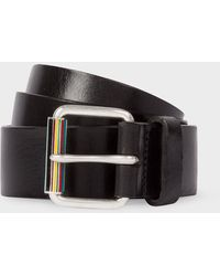 Paul Smith Black Leather Belt With Signature Stripe Roller