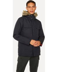 Paul Smith - Navy Quilted Parka With Faux Fur Hood Detail - Lyst