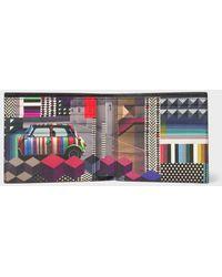 Paul Smith | Men's Black 'Geometric Mini' Interior Saffiano Leather Billfold Wallet | Lyst