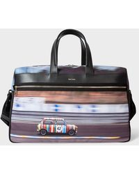 Paul Smith Multi-coloured 'racing Mini' Print Canvas Weekend Bag - Multicolor