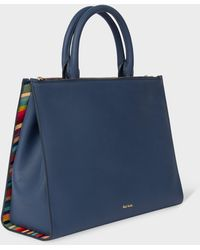 Paul Smith Blue Leather Double-zip Tote Bag With 'swirl' Trim