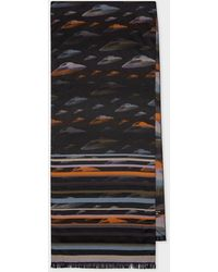 Paul Smith Orange And Lilac 'flying Saucer' Jacquard Scarf - Black