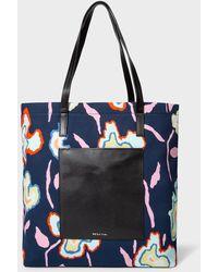 Paul Smith Navy 'heatmap Floral' Tote Bag - Blue