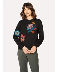 Paul Smith - Black Loopback-Cotton Sweatshirt With 'Ocean' Embroidery - Lyst