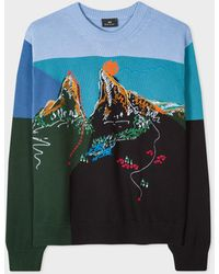 Paul Smith Cotton Embroidered 'mountain' Jumper - Blue