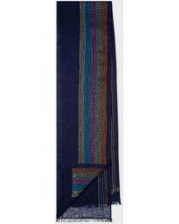 Paul Smith Navy Linen Scarf With Multi-colour Stripe Stitching - Blue