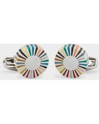 Paul Smith - Multi-Coloured Stripe Edge Circular Cufflinks - Lyst