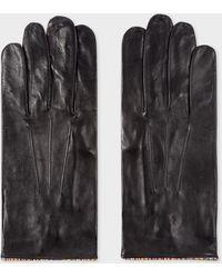 Paul Smith Gants Noirs Liserés 'Signature Stripe' En Cuir