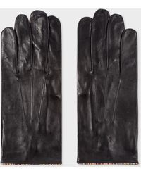 Paul Smith Black Leather Gloves With 'signature Stripe' Piping