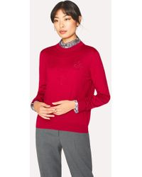 Paul Smith - Red Wool-Silk Openwork-Knit Sweater - Lyst