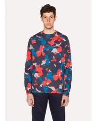 Paul Smith - Men's Red Camouflage Print Cotton Long-sleeve T-shirt - Lyst