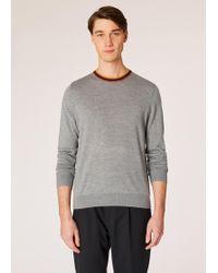 Paul Smith - Men's Grey Marl Merino-wool Jumper With 'artist Stripe' Collar And Cuffs - Lyst