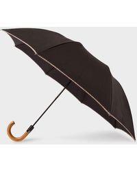Paul Smith Black Signature Stripe Border Compact Umbrella With Crook Wooden Handle