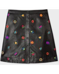 Paul Smith Black 'kyoto Floral' Leather Skirt