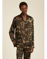 Paul Smith Green 'floral Photo' Print Silk Pyjamas