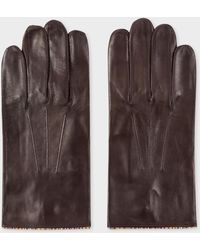 Paul Smith - Brown Leather Gloves With 'Signature Stripe' Piping - Lyst
