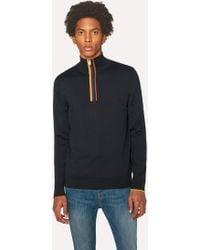Paul Smith - Dark Navy 'Artist Stripe' Funnel Neck Wool Half-Zip Jumper - Lyst