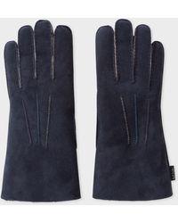 Paul Smith Navy Suede Sheepskin Gloves - Blue