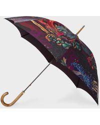 Paul Smith 'dreamer' Print Walker Umbrella With Wooden Handle - Multicolour