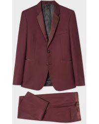 Paul Smith The Kensington - Men's Slim-fit Burgundy Wool-mohair Evening Suit - Purple