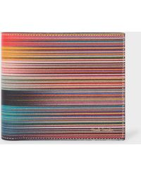 Paul Smith Mixed-stripe Leather Billfold Wallet - Multicolor