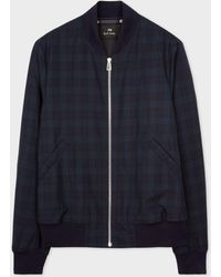 Paul Smith | Men's Navy Wool Check Wadded Bomber Jacket | Lyst