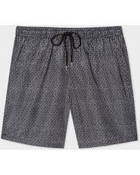 Paul Smith Black And White Geometric Print Long Swim Shorts
