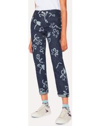 Paul Smith - Indigo 'Acapulco' Print Girlfriend-Fit Denim Jeans - Lyst