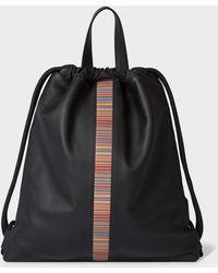 Paul Smith Black Leather 'signature Stripe' Drawstring Backpack