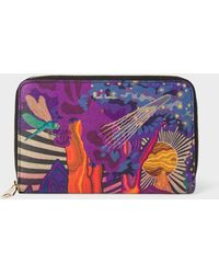 Paul Smith - Medium 'Dreamer' Print Leather Zip-Around Purse - Lyst