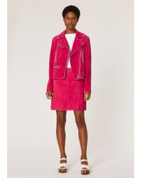 Paul Smith Raspberry Suede Skirt - Pink