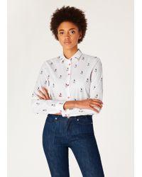 28720534 Slim-fit White 'rabbit Scribble' Print Shirt