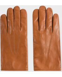 Paul Smith Tan Plain Leather Gloves - Brown