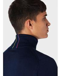Paul Smith Navy Merino-wool Roll Neck Sweater - Blue
