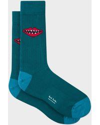 Paul Smith - Petrol Green 'Lips' Jacquard Socks - Lyst