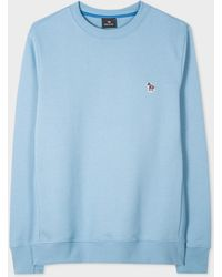 Paul Smith Light Blue Organic-cotton Embroidered Zebra Logo Sweatshirt