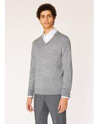 Paul Smith - Grey V-neck Merino Wool Jumper - Lyst