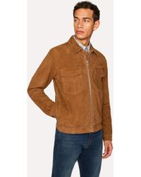 Paul Smith - Tan Suede Patch-Pocket Jacket - Lyst