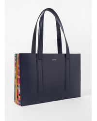 Paul Smith Navy 'concertina Swirl' Small Leather Tote Bag - Blue