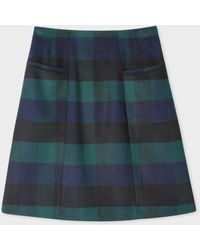 Paul Smith Navy And Green Check Wool-blend Mini Skirt - Blue